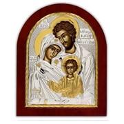 Икона Святое Семейство Серебряная Silver Axion Греция 260 х 310 мм на деревянной основе фото