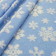 Мех ИГР. (БЕЛ) ЖАККАРД ИТЖФ2-707с4 крупн белые снежинки на голубом фото