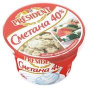 Сметана Президент 40% 200г фото