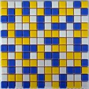 Мозаика стеклянная Cиний кобальт желтая белая фото