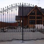 Ворота металлические распашные фото