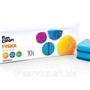 Губка для мытья посуды Fun Clean, в ассортименте - 10 шт/уп, 40 уп/кор фото
