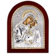 Икона Серебряная с позолотой Божией матери Гликофилусса (сладкое лобзание) Silver Axion 55 х 70 мм фото