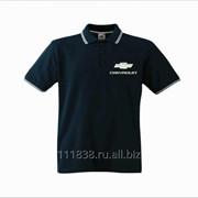 Рубашка поло Chevrolet черная с полоской фото