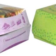 Упаковка гамбургер 100х100х60мм (со склейкой) ХАНСОЛЬ (белый внутри) цветность 2+0 СМYK от 20 000 фото