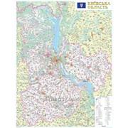 Настенная карта Киевской области 110x150 см, М1:200 000 на планках фото