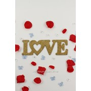 "Декор-надпись ""LOVE"" с блёстками /золото фото"