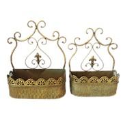 Кашпо настенное, пара, для цветов декоративное, золотая патина фото