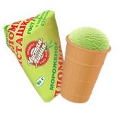 Мороженое Пломбир фисташковый в вафельном стаканчике фото