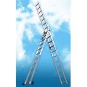 Лестница алюминиевая трехсекционная фото