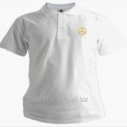 Рубашка поло Mercedes-Benz белая вышивка золото фото