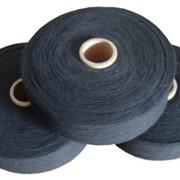 Пряжа смесовая (30% ПЭ, 70% Хл.) Nm 10/1 черная фото