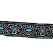 Ошейник для собаки черный c голубым фото