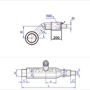 Тройниковое ответвление с переходом стальное в оцинкованной трубе-оболочке с металлической заглушкой изоляции и торцевым выводом кабеля d2=273 мм, D2=400 мм