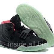 Кроссовки Nike Air Yeezy 2 черно-салатовые фото