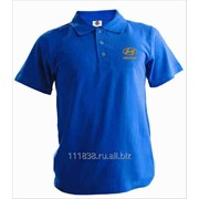 Рубашка поло Hyundai синяя вышивка золото фото