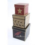 Коробки картонные набор из 3 квадратов- птичий луг (10х10х9.5-15х15х14cм) фото