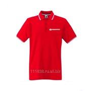 Рубашка поло Daewoo красная с полоской фото