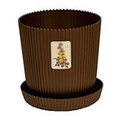 Горшок д/цветов с под. LE GAUFRE 2,4л, d-15,5см (коричневый) фото