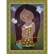 Батик роспись по шелку картина в подарок фото