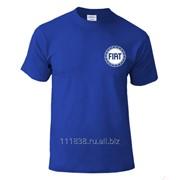 Футболка синяя Fiat вышивка белая фото