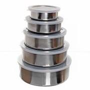 Набор ХК контейнеров Zhenxin из нержавейки, (14,16,18,20,22см), с пластиковой крышкой, 5шт /24/ (шт. фото