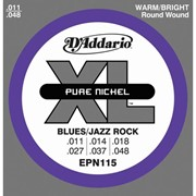 Струны для электрогитары D'Addario EPN115 XL Pure Nickel Blues/Jazz Rock (6 струн .011-.048) фото