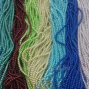 Бусины стеклянные имитация жемчуга на нитке 4 1уп-12 нитей фото