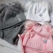 Детский комплект: шапка с декором и хомут, в расцветках фото