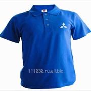 Рубашка поло Mitsubishi синяя вышивка белая фото