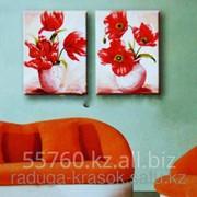 Картина по номерам Маки в белых вазах фото