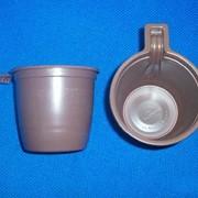 Чашка кофейная 200 мл бело-коричневая, двухслойная РS фото