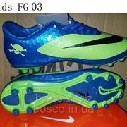 Бутсы детские Nike HyperVenom FG blue/lime фото