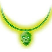 Ожерелье с кулоном Череп светящийся зеленый фото