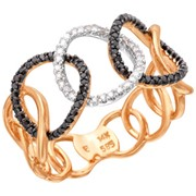 Кольцо с бриллиантами из комбинированного золота фото