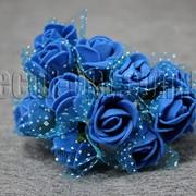 Букет синих розочек с фатином из латекса 2 см 3531 фото