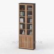 Шкаф книжный, Васко СОЛО 037 Корпус венге, фасад слива/стекло фото