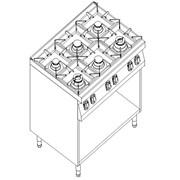 Плита газовая 6-ти конфорочная с открытой базой Kogast PS-T69/P фото