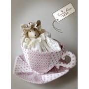 Текстильная игрушка Мышка Соня в кружке фото
