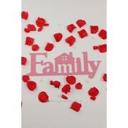 """Декор-надпись """"Family"""" с домиком / розовый фото"""