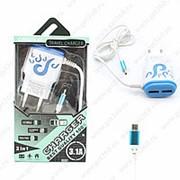 Сетевое Зарядное Устройство Travel Charger Micro USB+2 USB Blue (Синий) фото