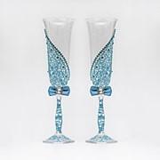 Свадебные бокалы голубого цвета, арт. WG-008 фото