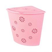 Корзина д/белья 45л ПЛЕТЕНКА угловая розовая *6 (Альтернатива) фото