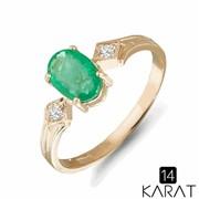 Золотое кольцо с изумрудом и бриллиантами 0,03 карат (Код: 14905) фото