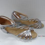 Туфли для бальных танцев, каблук 3 см серебро фото