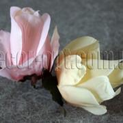 Голова розы из сатина h 9 см 4306 фото