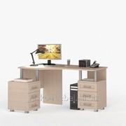 Стол письменный, компьютерный СОЛО-025 Корпус дуб молочный, фасад дуб молочный/дуб молочный фото