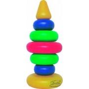 Игрушка из пластмассы Пирамидка Радуга высотой 27см из 9 элементов фото
