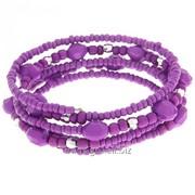 Браслет-пружинка 5 рядов Бусина , цвет фиолетовый фото