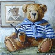 Тедди моряк, панно на керамике, А.Рябчевская, 15х15 фото